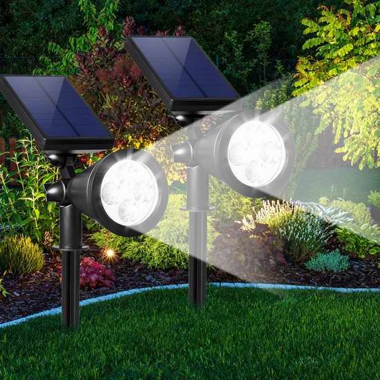Abco Tech 200流明太阳能户外防水射灯两件套 24加元限量特卖并包邮!