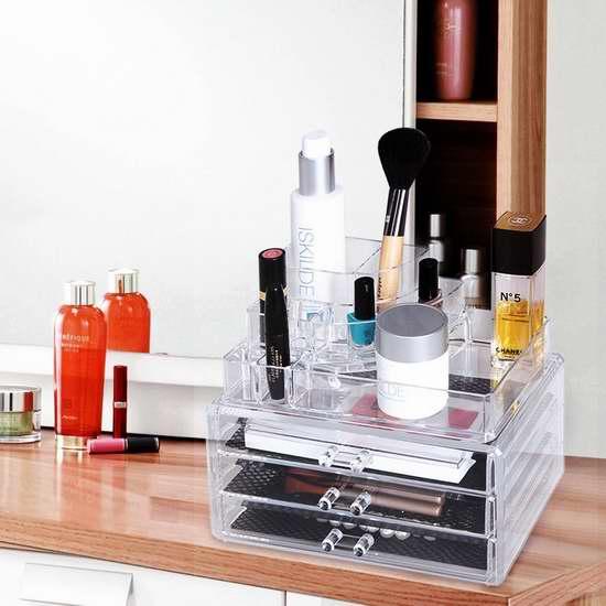 SONGMICS 透明化妆品首饰收纳盒2件套 16.99加元限量特卖!