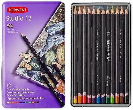 历史新低!Derwent 得韵 32196 铁盒装彩色铅笔(12支) 14.11加元限时特卖!