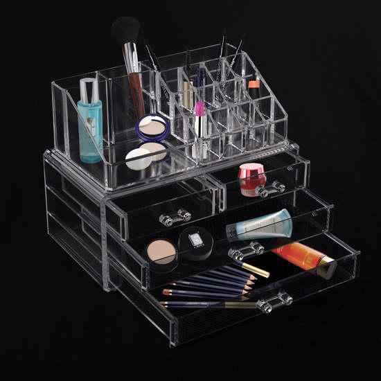 历史新低!HomCom 501-007 4抽屉透明化妆品首饰收纳盒2件套 22.99加元限时特卖!