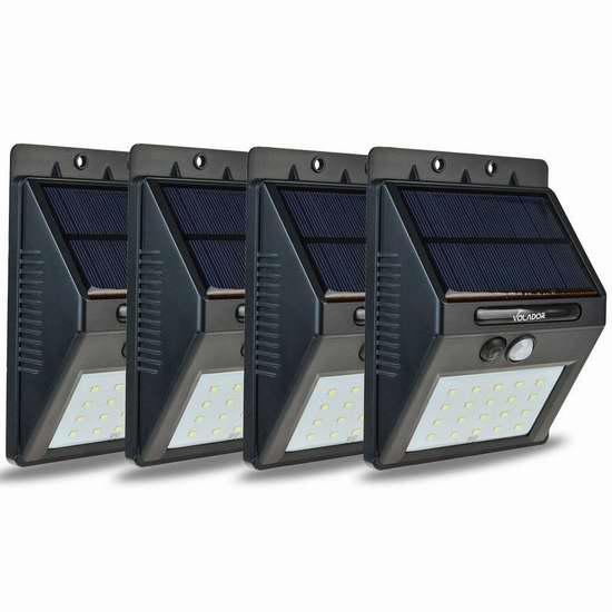 Volador 20 LED 太阳能防水超亮运动感应灯4件套 30.28加元限量特卖并包邮!两色可选!