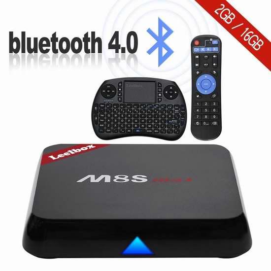 Leelbox M8S max 四核双频WiFI流媒体播放器/网络电视机顶盒(2G/16G)+无线迷你键盘 84.99加元限量特卖并包邮!