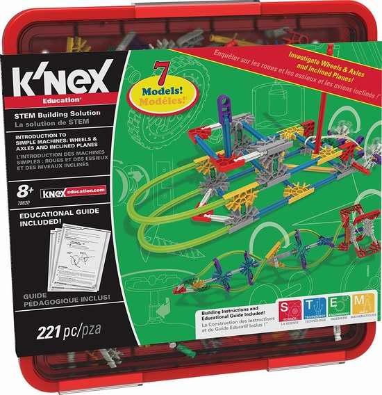 历史新低! K'nex Education 车轮车轴 构建机器益智拼插积木套装(221pcs) 19.5加元限时特卖!