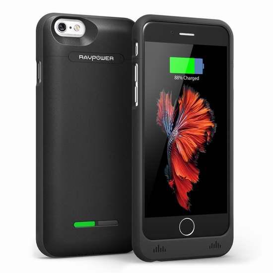 RAVPower 3000mah iPhone 6 & 6S 充电手机壳2.7折 9.88加元限量特卖并包邮!