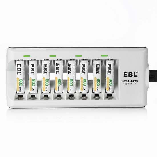 EBL 8通道电池充电器+8只AAA镍氢充电电池套装 23.79加元限量特卖!