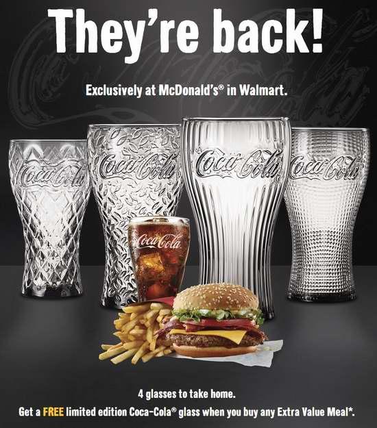 McDonald's 麦当劳Walmart店内购买超值套餐,免费送1个玻璃饮料杯!