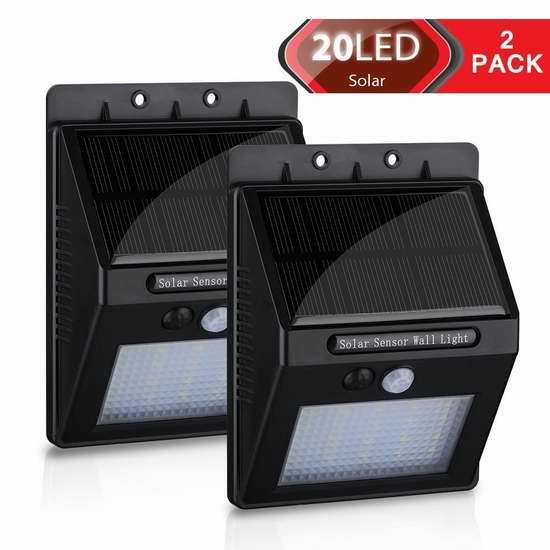 Homitt 20 LED 太阳能防水超亮运动感应灯2件套 21.99加元限量特卖!