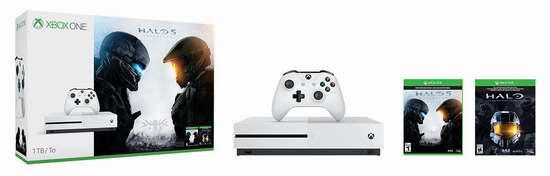 历史新低!Xbox One S 1TB 家庭娱乐游戏机+《光环5:守护者》+《光环:士官长合集》套装 349.99加元限时特卖并包邮!