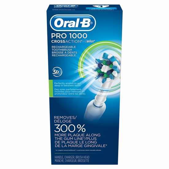 销量冠军!Oral-B Professional Care 1000 3D震动电动牙刷 49.96加元包邮!两色可选!