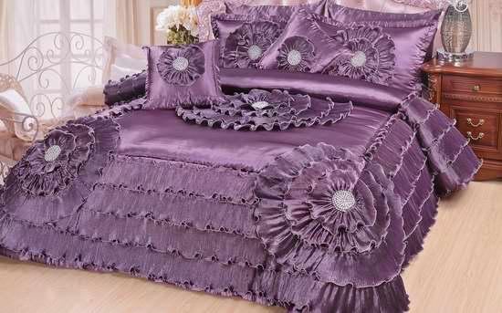 白菜价!DaDa Bedding Quinceanera 豪华维多利亚紫色缎面California King被子5件套1.5折 39.05加元包邮!