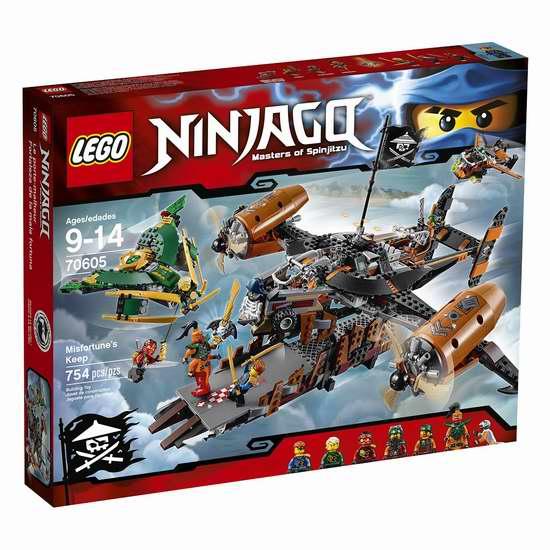 历史新低!LEGO 乐高 70605 Ninjago 飞天海盗要塞 厄运堡垒号积木套装(754pcs)5折 50.41-63.01加元包邮!