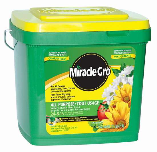 销量冠军!Miracle-Gro 24-8-16 水溶性植物复合肥料(1.71公斤) 9.88加元!