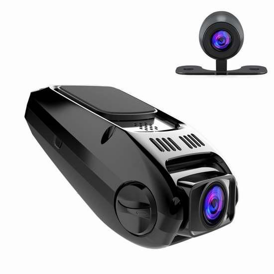 APEMAN 1.5英寸1080P全高清广角双镜头GPS夜视行车记录仪 76.49加元限量特卖并包邮!