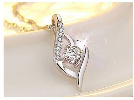 Joyfulshine 925纯银钻石爱心吊坠项链3.4折 13.59加元限量特卖!