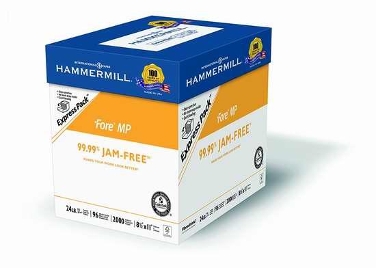 历史新低!Hammermill Paper Fore MP 24磅复印打印纸2000页 19.99加元限时特卖!