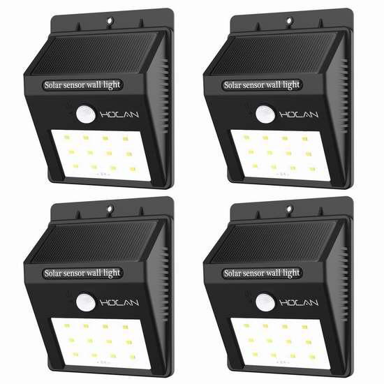 Holan 12 LED 太阳能防水运动感应灯4件套 33.14加元限量特卖并包邮!