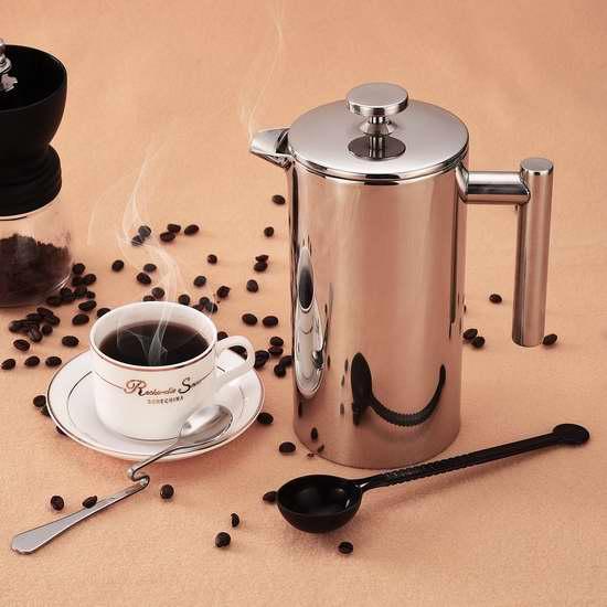 Homitt 34盎司 不锈钢双壁 法式/法压咖啡/茶水 滤压壶 23.95加元限量特卖!