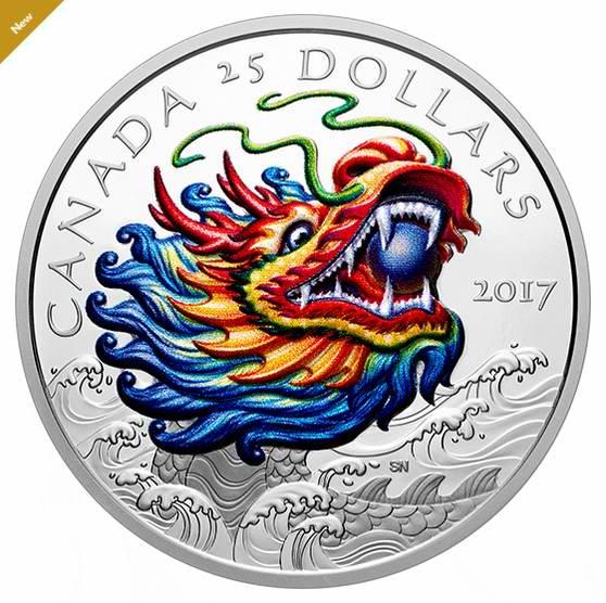 2017端午节赛龙舟纯银彩色纪念币 139.95加元销售并包邮!
