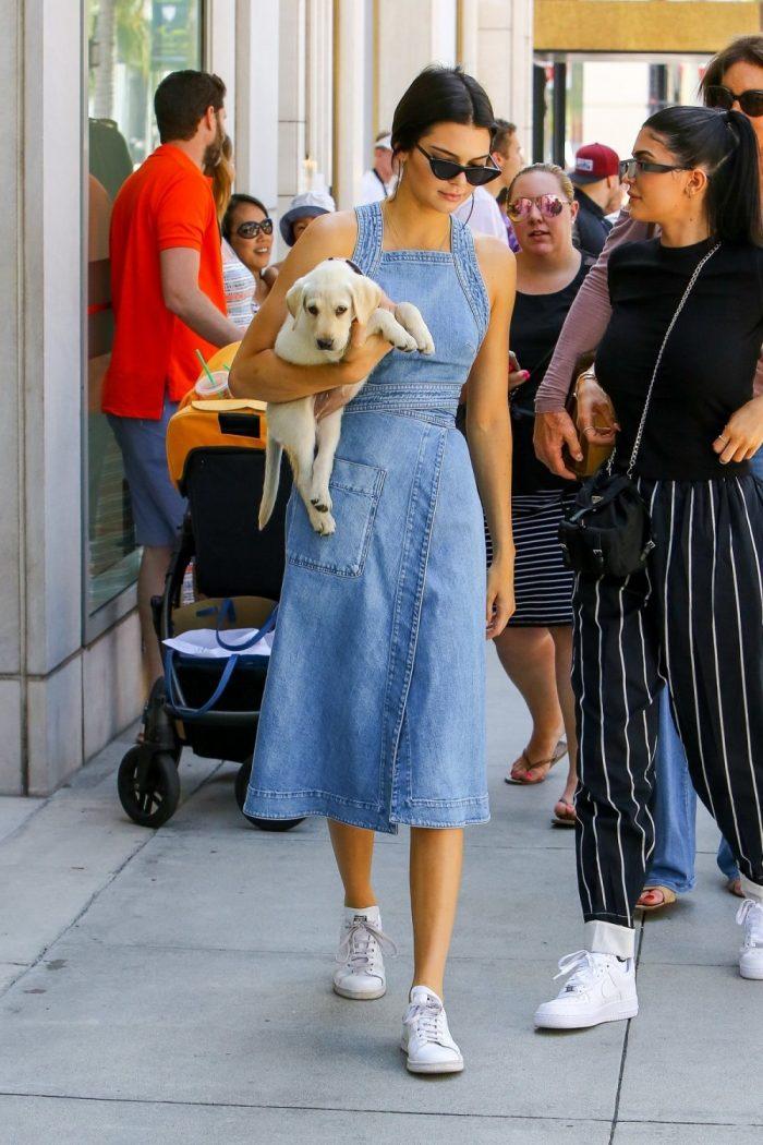 Kendall Jenner 最新街拍同款! Stella McCartney 束腰牛仔裙 410加元,原价 1080加元,包邮