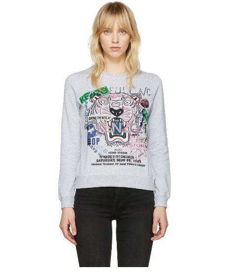 Kenzo 灰色虎头卫衣 194加元(xs,s码),原价 395加元,包邮