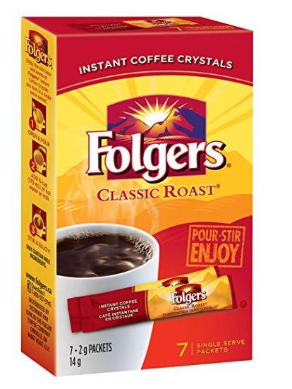 Folgers 经典烘焙速溶咖啡7包 1加元特卖!