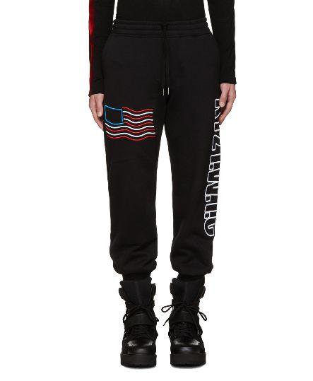 英国顶级潮牌!KTZ 男士黑色 Flag Logo 纯棉休闲裤 153加元,原价 510加元,包邮