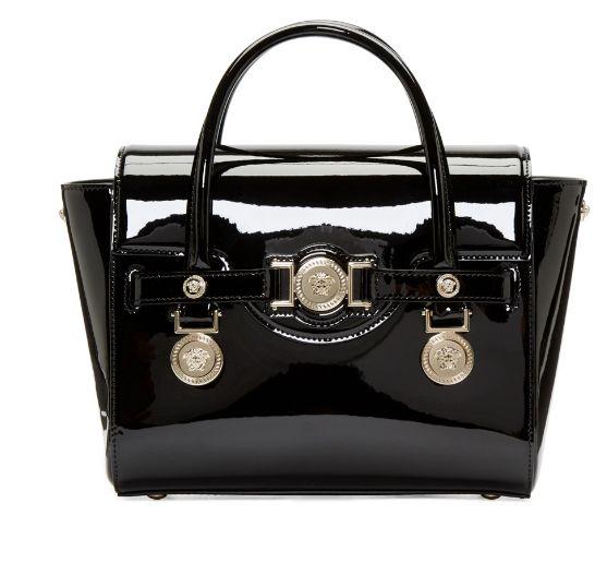 Versace Venice 黑色亮皮迷你手提包 1654加元,原价 2625加元,包邮