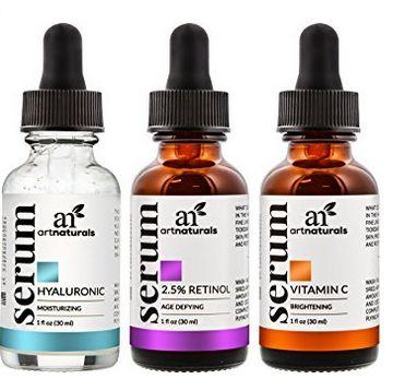 Art Naturals抗衰老系列:维生素C/视黄醇/透明质酸血清套装 32.95加元(各1.0盎司)!