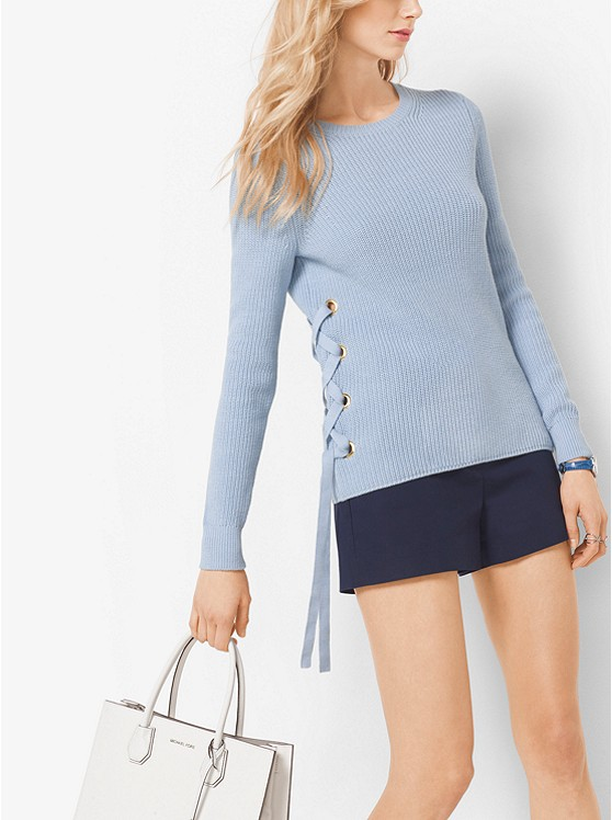 Chiara喜欢这种style!Michael Kors 两侧束带纯棉毛衣 99加元(3色),原价 165加元,包邮