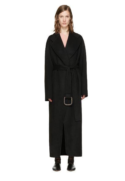 极简风! Acne Studios Lova Doublé 黑色拼接羊毛大衣 1005加元(XS,S,L),原价 2050加元,包邮