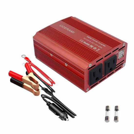 UCERAMI 350W 车载电源逆变器(2 USB充电口+2电源插座) 26.34加元限量特卖并包邮!