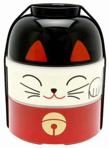 Kotobuki 280-325 超萌幸运猫 加大双层饭盒/日式便当盒 30.38加元限时特卖!