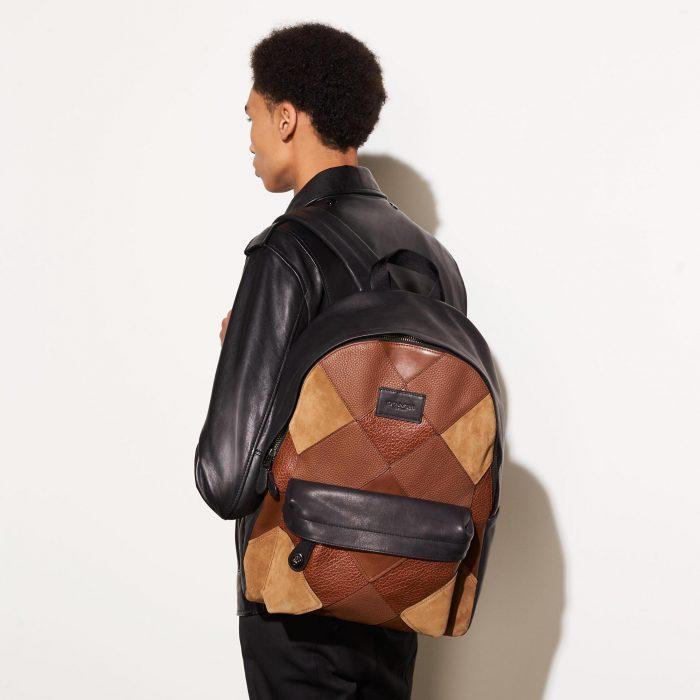 COACH  蔻驰 Mixed Canyon 男士多色菱纹真皮拼接双肩包4.1折 288.75加元限时特卖并包邮!