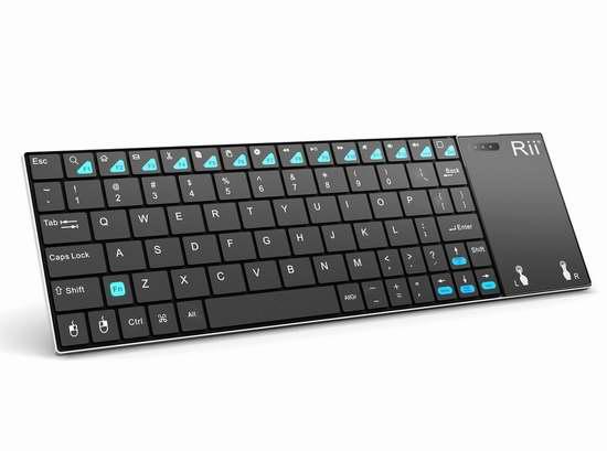 速抢!Rii K12BT 超薄迷你蓝牙无线键盘,带触控板2.3折 9.98加元限量特卖并包邮!