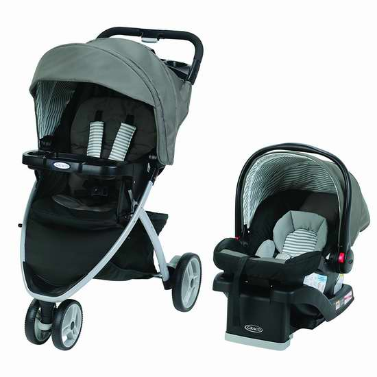 近史低价!Graco 葛莱 1979995 Pace Click Connect 三轮婴儿推车 + SnugRide 30 旅行车载提篮组合 279.97加元包邮!