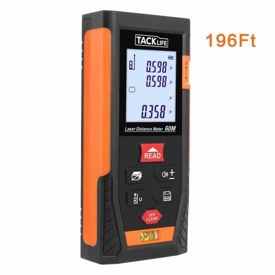 Tacklife HD60 196英尺 专业激光测距仪 39.99加元限量特卖并包邮!