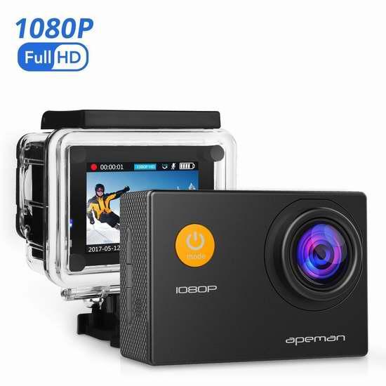 APEMAN 1080P 全高清超大广角运动摄像机 42.49加元限量特卖并包邮!