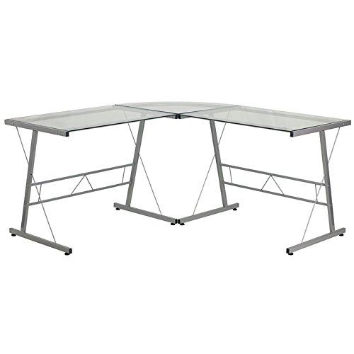 历史最低价!Flash Furniture 时尚玻璃台面 L型办公桌 89.48加元包邮!