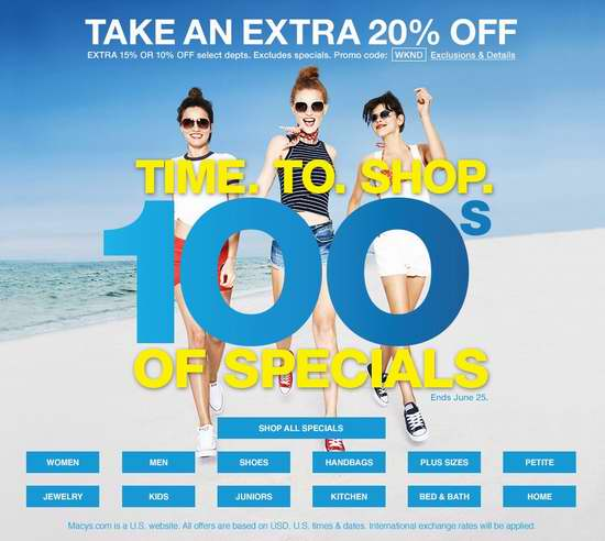 Macy's 梅西百货 精选大量美包、美鞋、美衣、床上用品、厨房用品、首饰手表等特价销售,额外再打8折!
