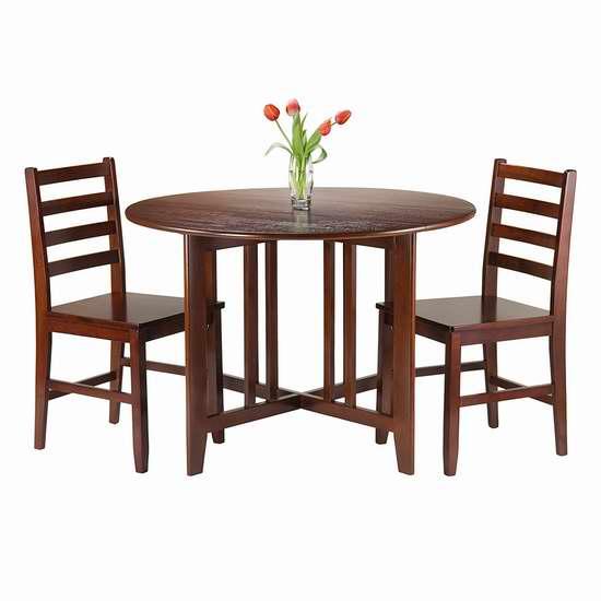 历史新低!Winsome Wood 94356 Alamo 圆形餐桌椅3件套 337.08加元限时特卖并包邮!
