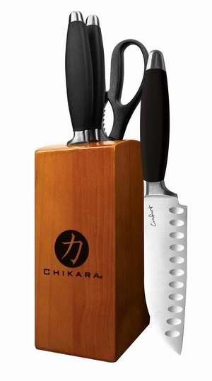 历史新低!Ginsu 05830 Chikara 日本专业舒适手柄系列不锈钢刀具组合5件套2.5折 16.75加元限时清仓!