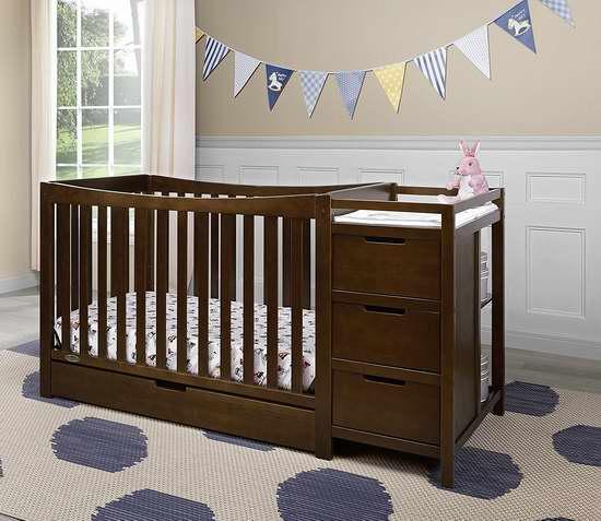 历史新低!Graco Remi 四合一成长型婴儿床+收纳柜/换尿布台套装 339.99加元包邮!3色可选!