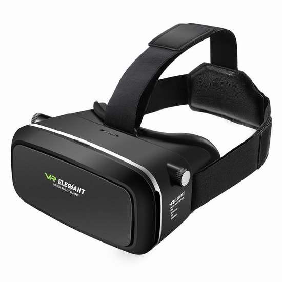ELEGIANT 3D VR 头戴式虚拟现实眼镜 13.33加元限量特卖!