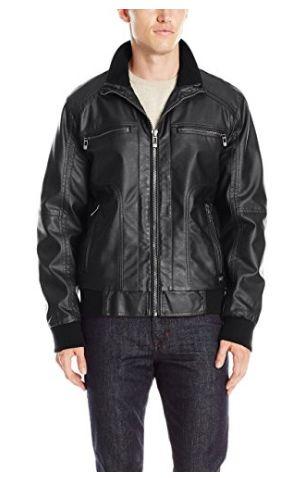 Calvin Klein 男式时尚人造革皮夹克(S、L、XL码)1.7折 42.45加元清仓并包邮!两色可选!