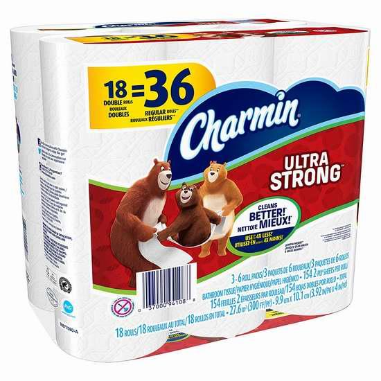 历史新低!Charmin Ultra Strong 超强双层卫生纸18卷 7.49加元限时特卖!