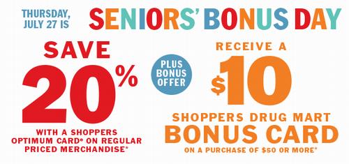Shoppers Drug Mart 今日老人购物8折,满50加元送10加元礼品卡!
