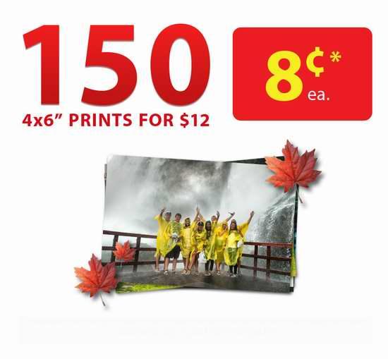 Walmart Photo Centre 打印150张以上6寸照片,单张仅需8分钱!