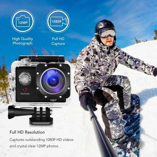 Victure 1080P 12MP 全高清超大广角运动摄像机 41.63加元限量特卖并包邮!