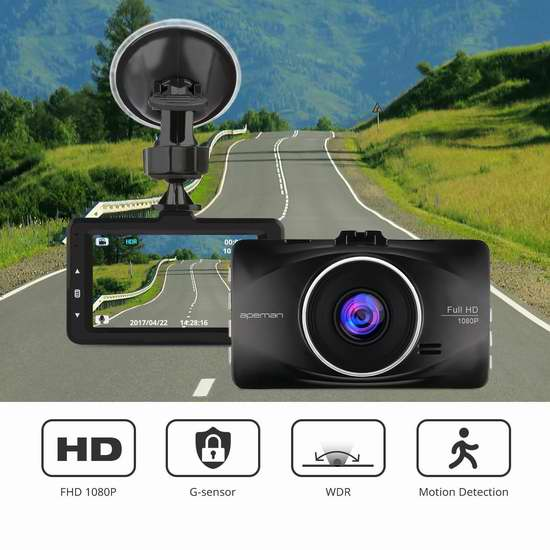 APEMAN 1080P 全高清超大广角行车记录仪 63.99加元限量特卖并包邮!