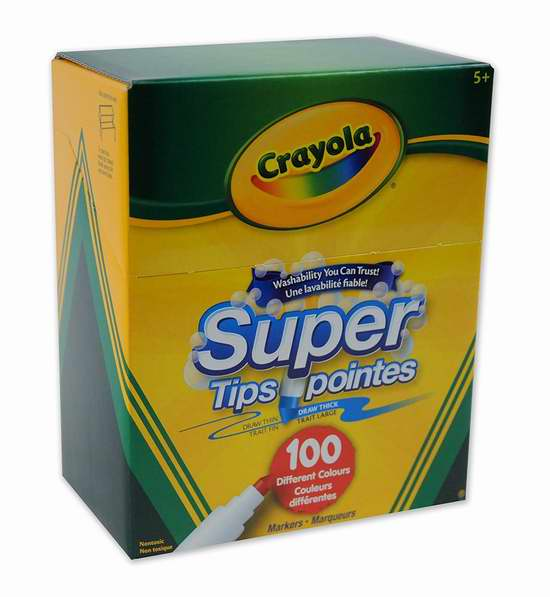 Crayola 绘儿乐 Super Tips 100色可水洗马克笔5.2折 11.97加元!
